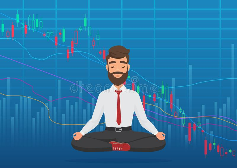 Young man trader meditating under falling crypto or stock market exchange chart. Business trader, finance stock market vector illustration