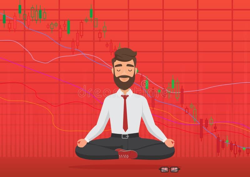 Young man trader meditating under falling crypto or stock market exchange chart. Business trader, finance stock market vector illustration