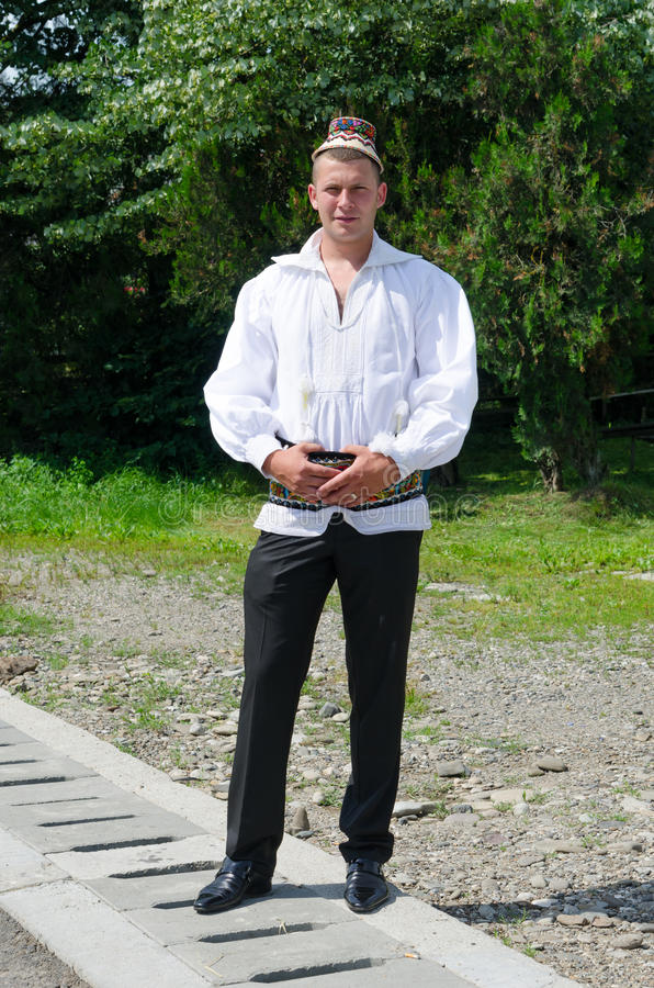 Young Man in traditional clothing, Maramures stock photography