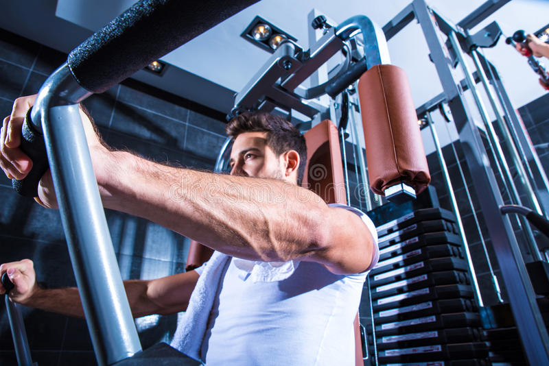Young man training in the Gym stock image