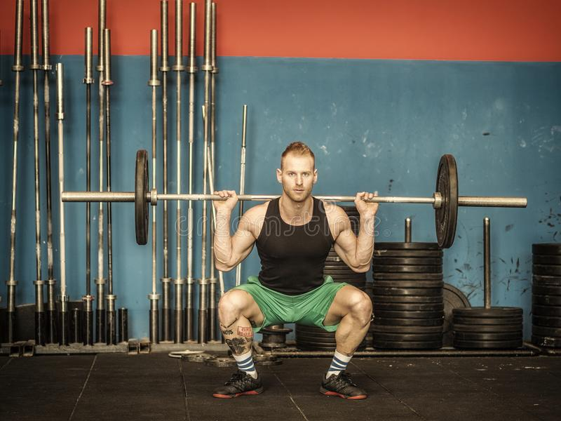 Young man training legs in gym. Handsome young man training legs lifting barbell doing squats, standing in a gym stock photos