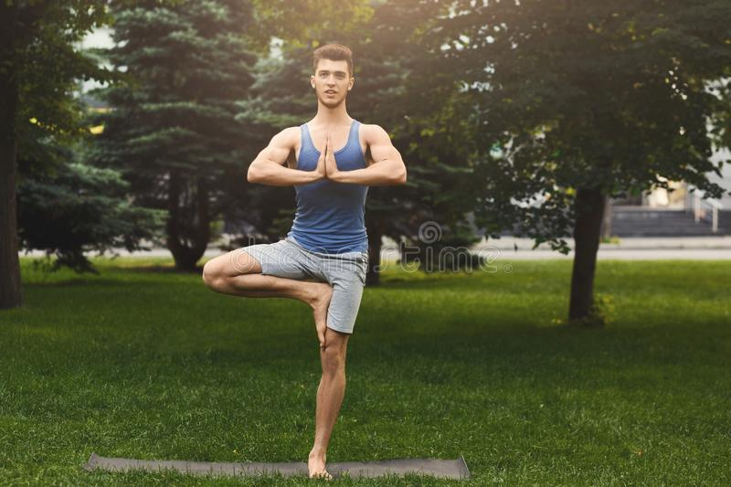 Young man training yoga in tree pose outdoors royalty free stock photos