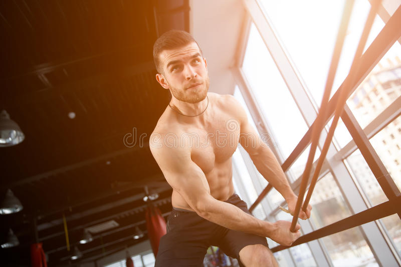 Young man trains in sport royalty free stock images