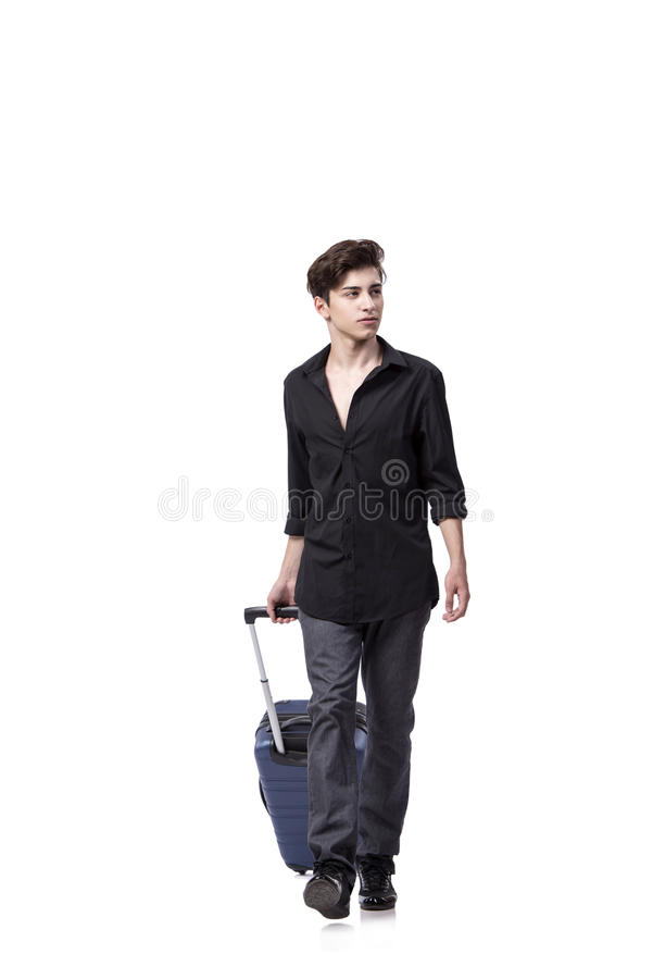 The young man in travel concept isolated on white stock image
