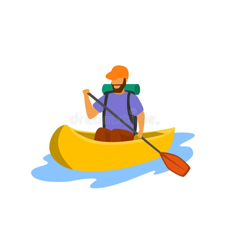 Free Young Man Traveling Paddling Canoe Isolated Vector Stock Images - 123552314