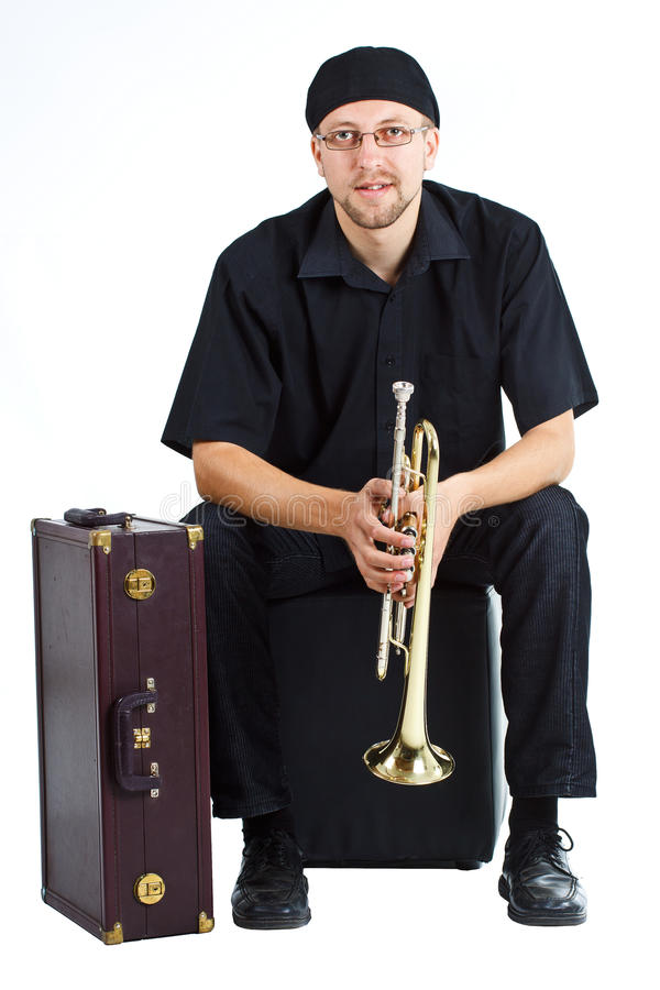 Download Young Man With Trumpet And Suitcase Stock Image - Image of instrument, jazz: 23386917