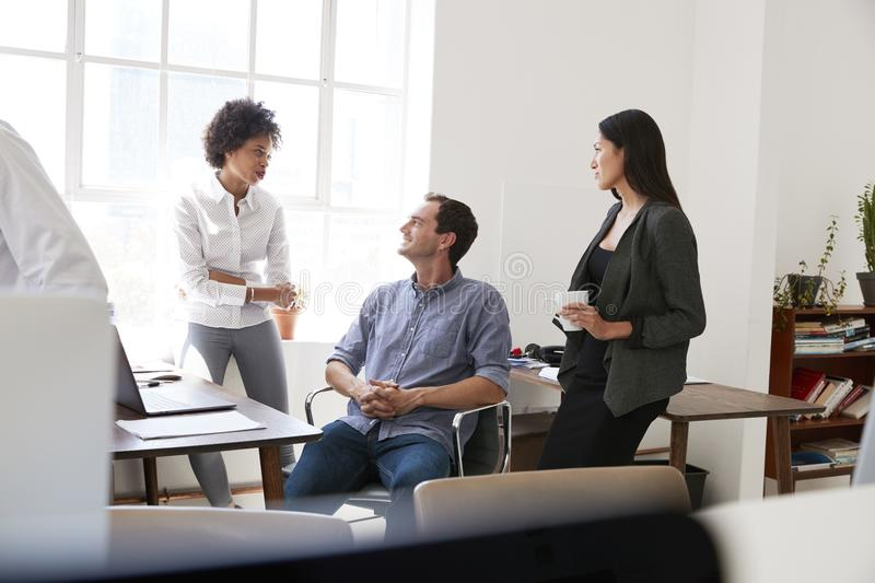 Young man and two female colleagues talking in an office. Young men and two female colleagues talking in an office royalty free stock photos