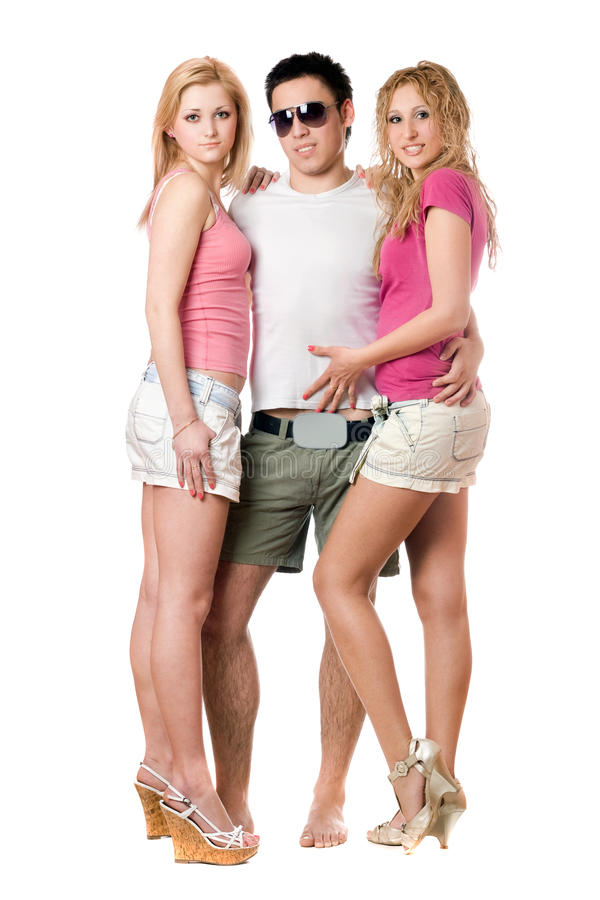 Young Man And Two Pretty Girls Royalty Free Stock Images