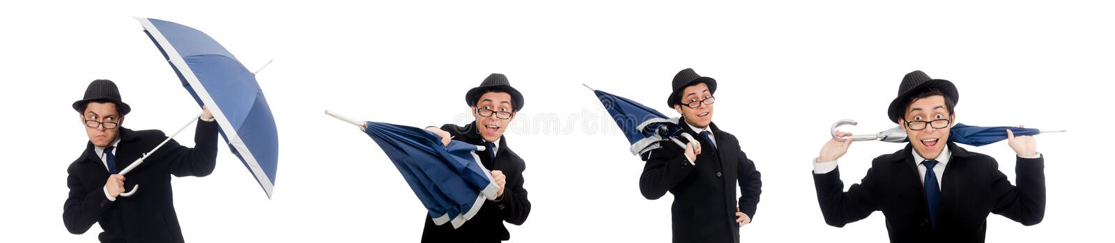 Young man with umbrella isolated on white stock images