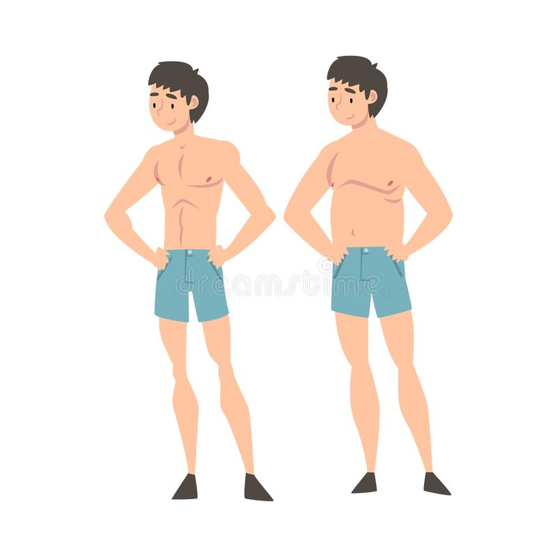 Young Man in Underwear Before and After Weight Loss, Male Body Changing Through Healthy Nutrition or Sports Vector vector illustration