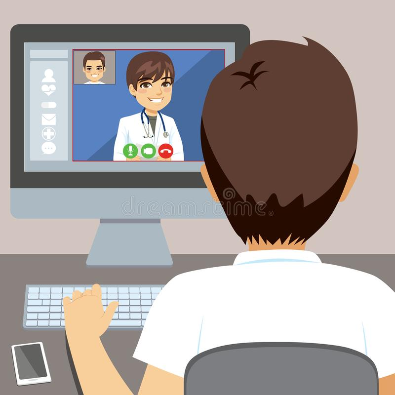 Male Doctor Online Computer. Young man using computer to talk with male doctor online consultation concept royalty free illustration