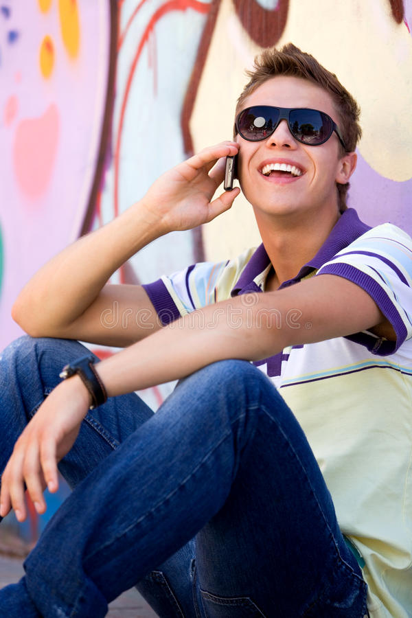 Download Young Man Using Mobile Phone Stock Image - Image: 15197835