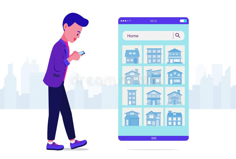 Young Man using smartphone Searching for house on website. Young Man using smartphone Searching for house on website while he walking on street. Illustration royalty free illustration