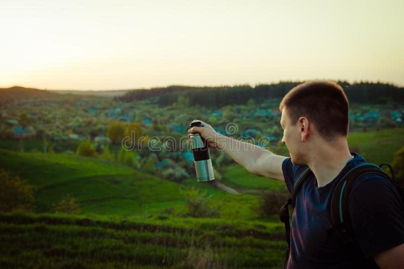 Travelling hiking backpacking sunset success inspiration royalty free stock photography