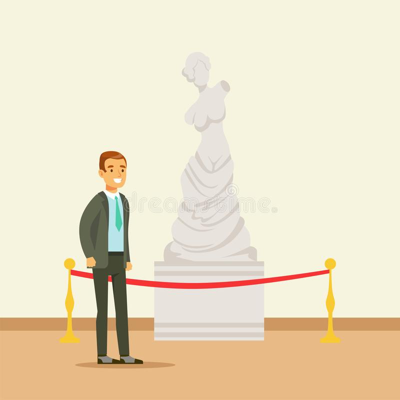 Young man viewing antique statue at the museum exhibition, people attending museum. Art gallery vector Illustration royalty free illustration