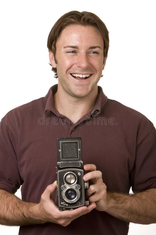 Young Man With Vintage Camera royalty free stock photography