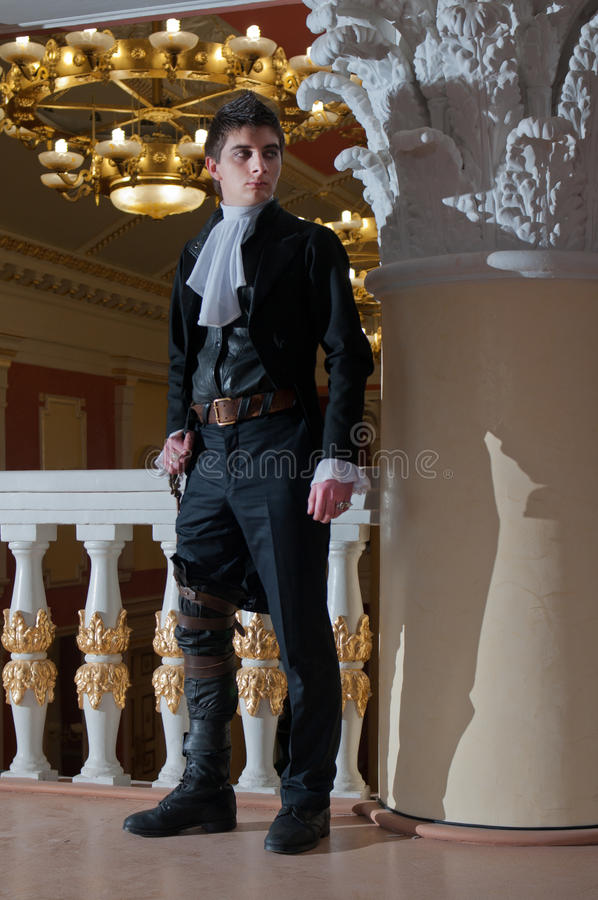 Young man in vintage costume stock image