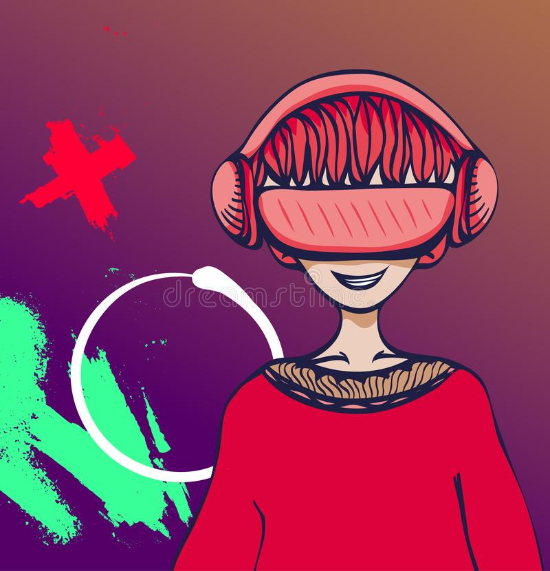 Young man with virtual reality headset on colorful abstract background. VR and cartoon character. Flat vector stock illustration