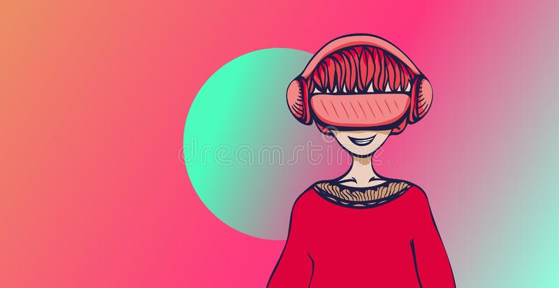 Young man with virtual reality headset on colorful abstract background. VR and cartoon character. Flat vector royalty free illustration