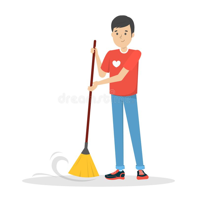 Free Young Man Volunteer Sweep The Floor. Guy Holding Broom Royalty Free Stock Image - 152625786
