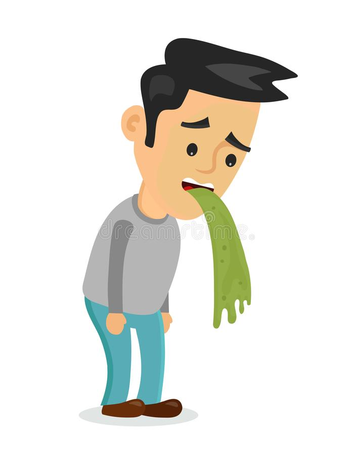 Young man vomiting puking vector royalty free illustration