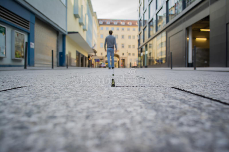 Young Man Walking Away Stuttgart Germany City Center royalty free stock images