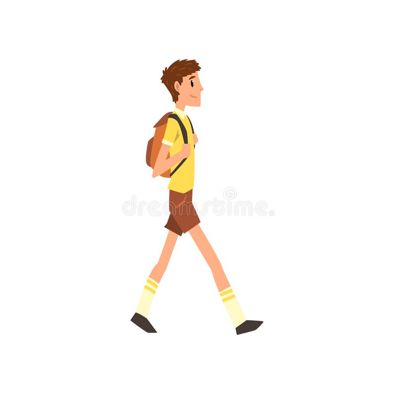 Young man walking with backpack, active healthy lifestyle concept cartoon vector Illustration on a white background. Young man walking with backpack, active vector illustration