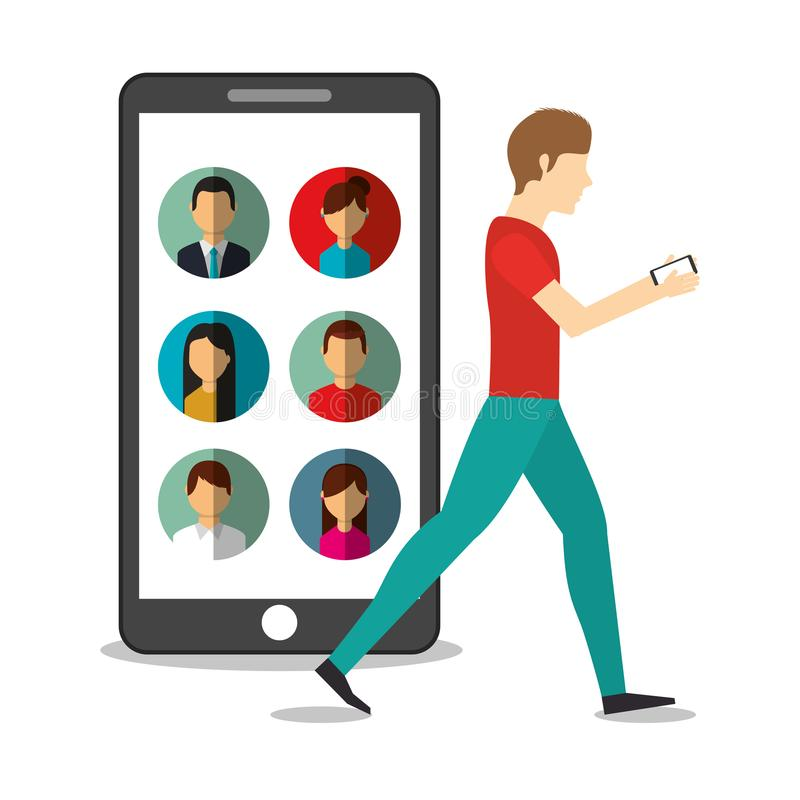Young man walking with mobile in hands and smartphone people. Vector illustration stock illustration