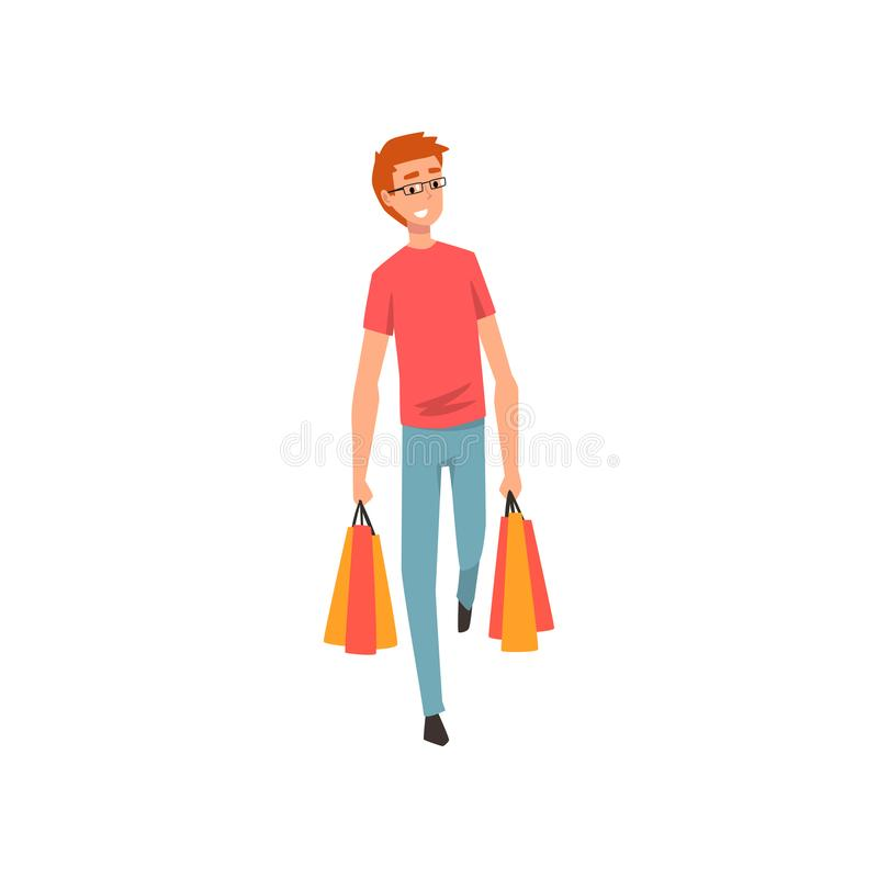 Young man walking with shopping bags, guy enjoying shopping vector Illustration royalty free illustration