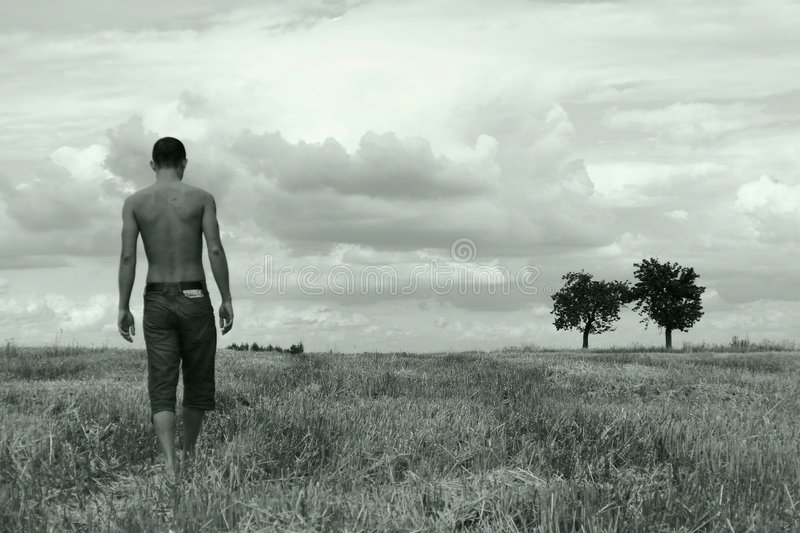 Young man walking on a stubble-field stock photos