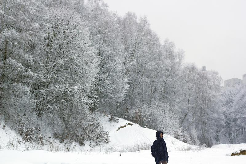 Young man walking in winter forest. Young man walking in winter frozen forest in snow storm royalty free stock photography