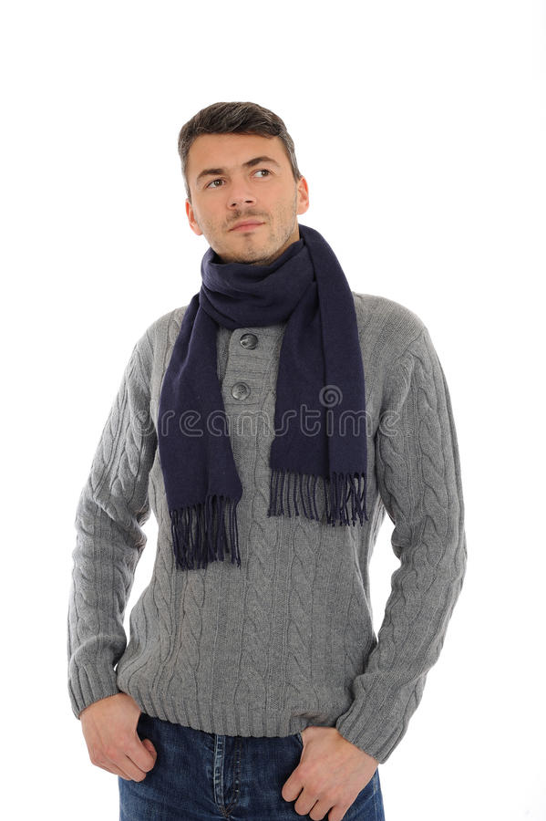 Young man in warm winter casual clothes think. Young handsome possitive man in warm winter casual clothes thinking. isolated on white background royalty free stock photos