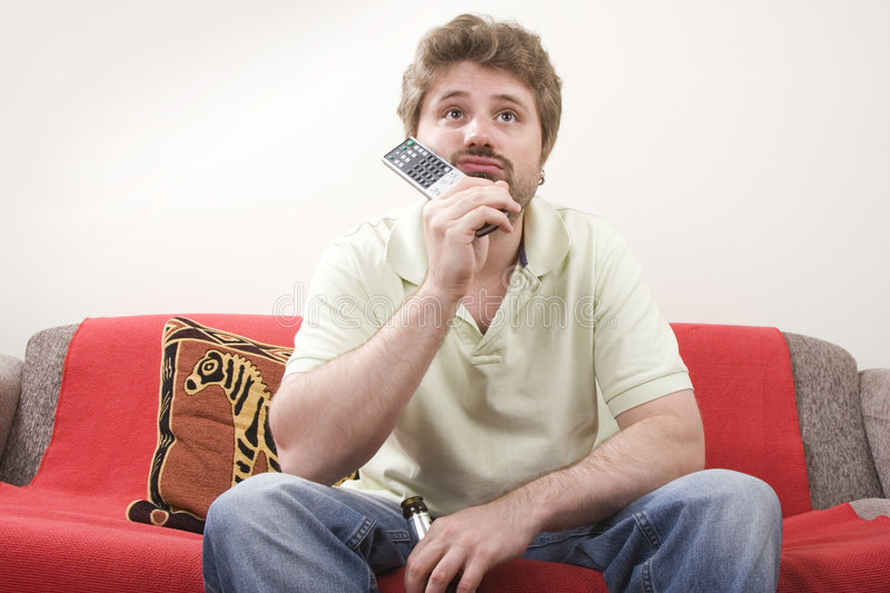Download Young man is watching TV stock image. Image of unsatisfied - 6862853