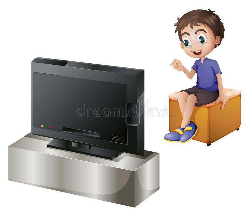 A young man watching TV royalty free illustration