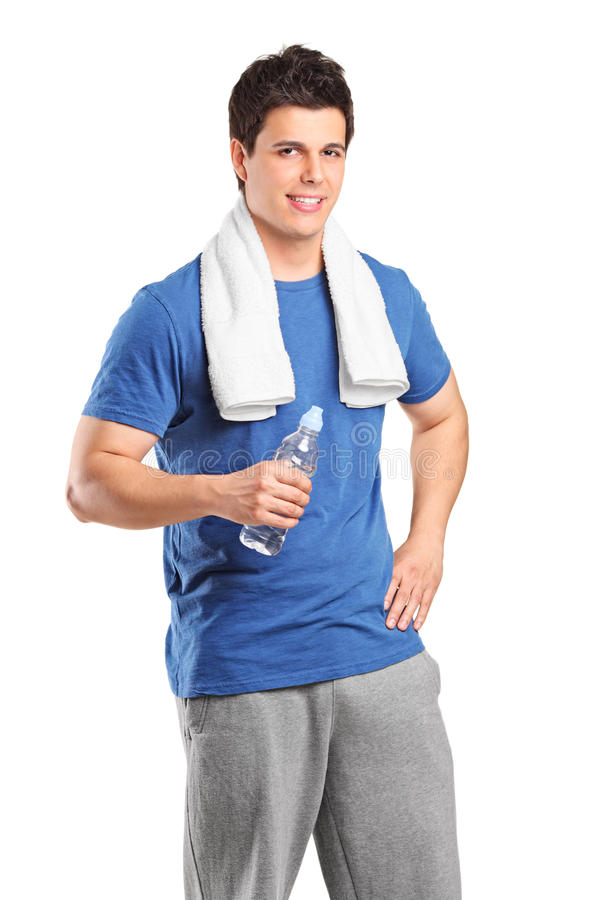Download Young Man With Water Bottle After His Exercising Stock Photo - Image: 20449736