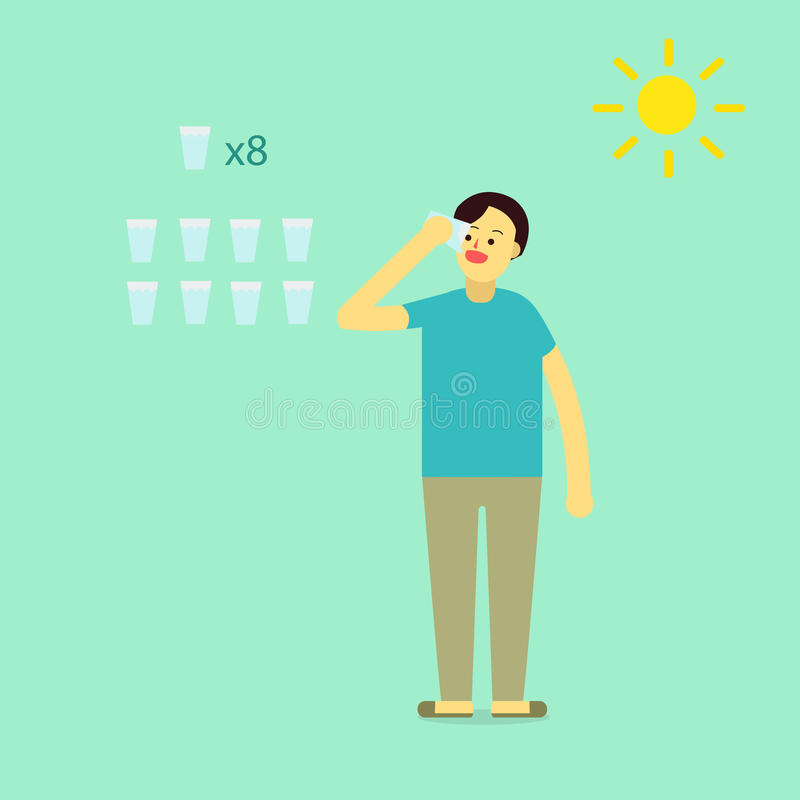 Young man wear private dress drink water. Info eight glass of water of a day for heathy with sun icons.flat cartoon design for infographic and text royalty free illustration