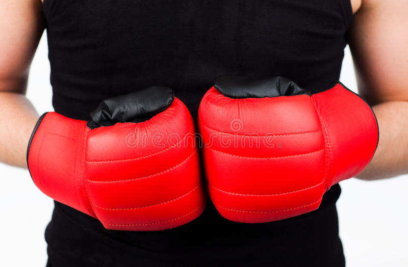 Young Man Wearing Boxing Gloves Stock Photo