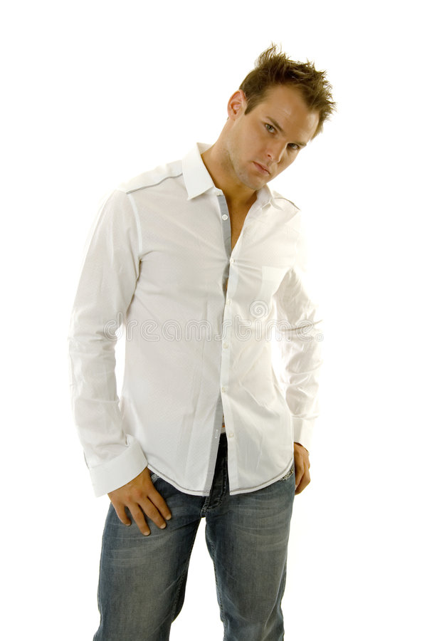 Young Man Wearing Casual Outfit Stock Images