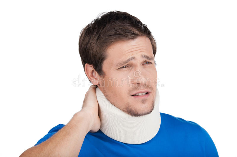 Young Man Wearing Cervical Collar. stock photography