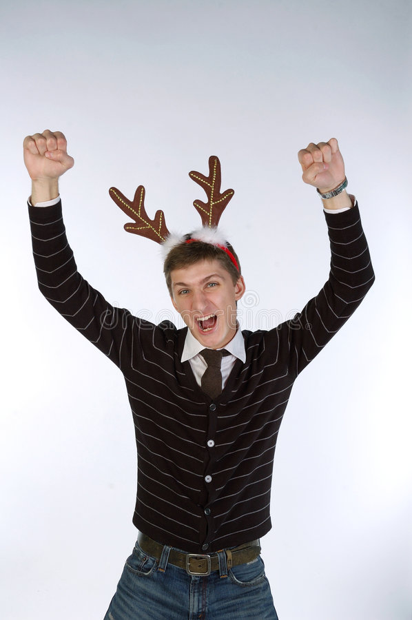 Download Young Man Wearing Deer's Horns Stock Image - Image: 7203153