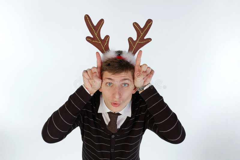 Download Young Man Wearing Deer's Horns Stock Photo - Image: 7252232
