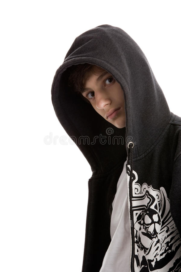 Young Man Wearing Hooded Sweatshirt Royalty Free Stock Photos