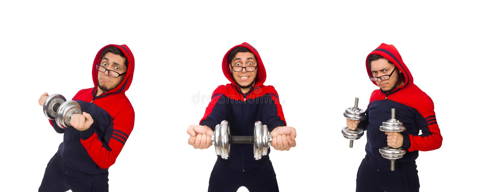 Young man wearing sport costume isolated on white royalty free stock photo