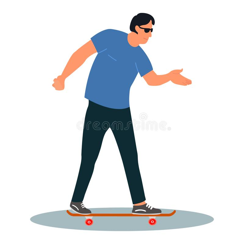 Young man wearing sunglasses rides skateboard. Urban citizen character.Vector illustration on white background in cartoon style stock illustration