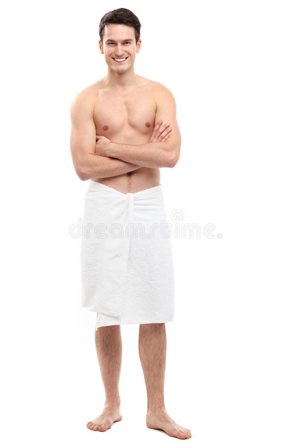 Download Young man wearing towel stock image. Image of length - 29050013