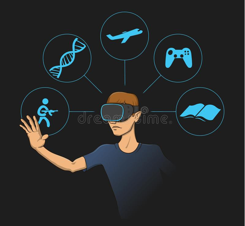 Young man wearing virtual reality head-set with virtual items around him. Flat vector illustration. On black background stock illustration