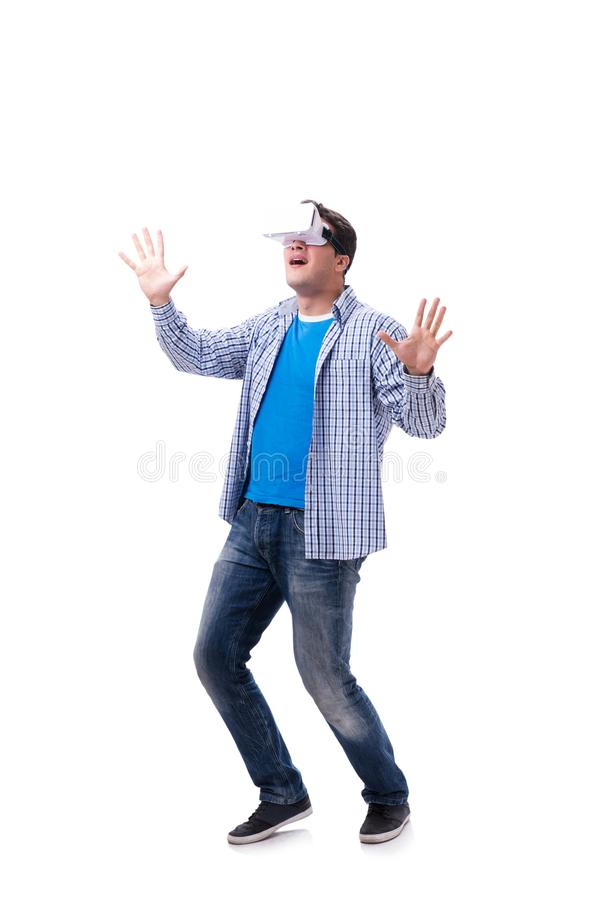 The young man wearing virtual reality vr glasses stock images