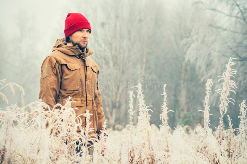 Young Man wearing winter hat clothing outdoor royalty free stock images