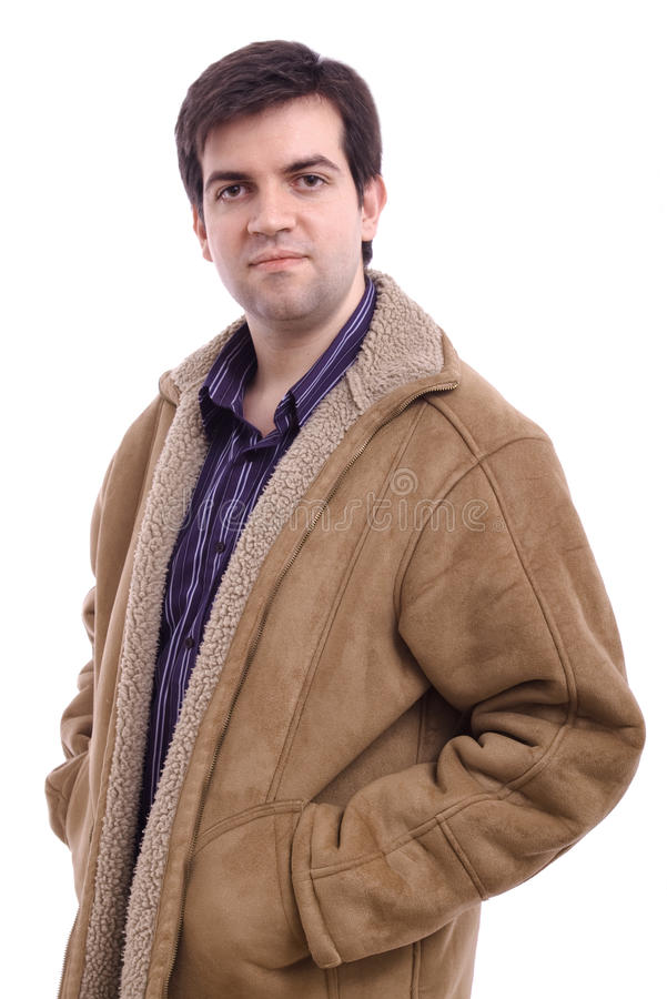 Young man wearing a winter leather jacket stock photography