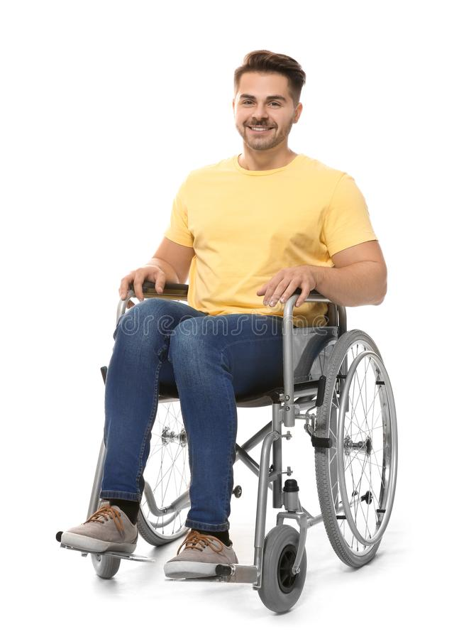 Young man in wheelchair stock photography